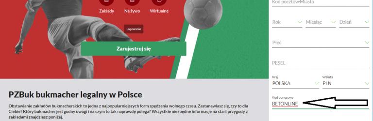 Aktualny kod promocyjny bukmachera Pzbuk na bonus 500 PLN